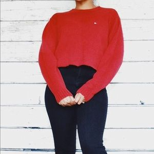 Large Tommy Hilfiger Crew Neck Red Crop Sweater